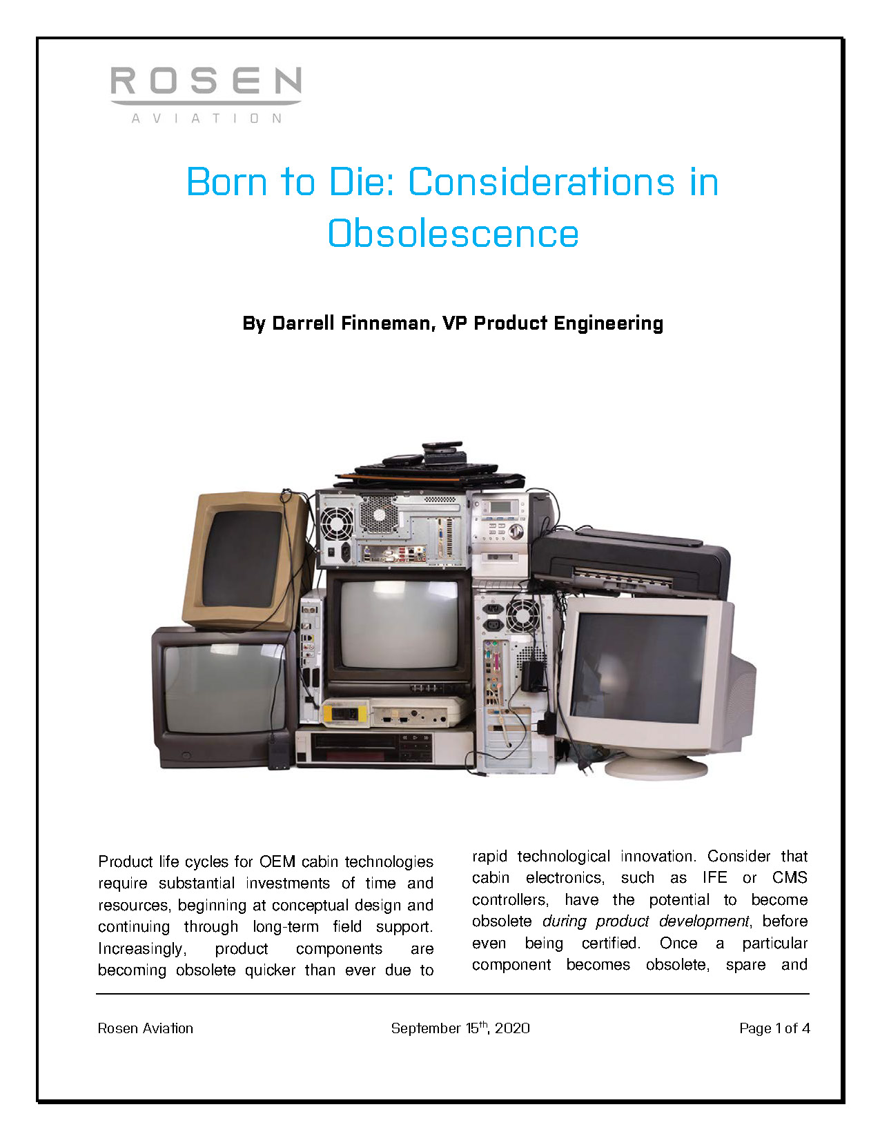 "End of Life/Obsolescence – ""Born to Die: Considerations in Obsolescence"""